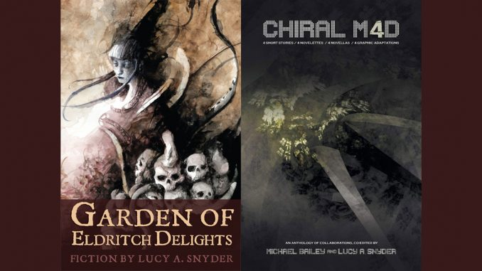 The covers to Garden of Eldritch Delights and Chiral Mad 4